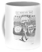 A Man Is Seen Walking Down The Sidewalk With Word Coffee Mug