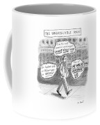 A Man Is Seen Walking Down The Sidewalk With Word Coffee Mug by Roz Chast