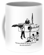 A Man Is Seen Wearing A Cape Next To A Wind Coffee Mug
