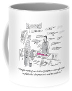 A Man Is Selling A Pink Gun To A Small Girl Coffee Mug