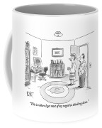 A Man Is Showing His Guest A Room In His Home Coffee Mug