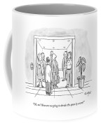 A Man Is Trying To Get In An Elevator With Six Coffee Mug