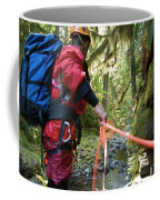 A Man Lowers A Rope For Canyoning Coffee Mug