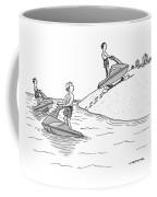 A Man On A Jetski Looks At Another Man Coffee Mug
