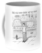 A Man On A Sidewalk Says Coffee Mug