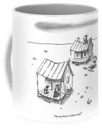 A Man On Top Of A Shack With A Ladder Coffee Mug