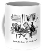 A Man Opens A Briefcase Full Of Cash Coffee Mug