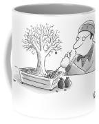A Man Rakes Leaves In A Tiny Bonsai Tree Coffee Mug