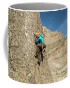 A Man Rock Climbing In Rocky Mountain Coffee Mug