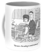 A Man Rubs The Back Of A Woman As She Prepares Coffee Mug