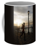 A Man Running On A Dock In The Harbour Coffee Mug