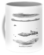 A Man Shouts Down Into A Large Hole In The Ground Coffee Mug