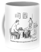 A Man Sits In A Doctor's Office Talking Coffee Mug