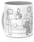 A Man Sits On A Living Room Couch Coffee Mug