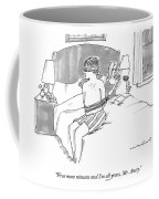 A Man Sits Tied Up In His Underwear On The Bed Coffee Mug
