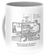 A Man Sitting At Home Watches A News Report On Tv Coffee Mug