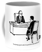 A Man Sitting In Front Of His Boss Is Explaining Coffee Mug