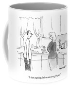 A Man Speaks To A Woman In A Kitchen Coffee Mug