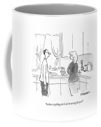 A Man Speaks To A Woman In A Kitchen Coffee Mug by Pat Byrnes