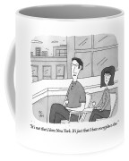 A Man Speaks To A Woman On A Balcony In The City Coffee Mug