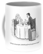 A Man Speaks To A Woman On A Date At A Restaurant Coffee Mug