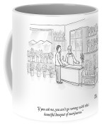 A Man Speaks With An Assistant At A Flower Shop Coffee Mug