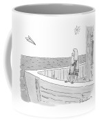 A Man Stands On A Boat Staring At An Incoming Coffee Mug