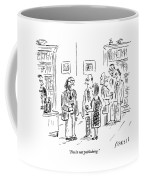 A Man Talks To A Couple At A Cocktail Party Coffee Mug