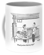 A Man Talks To A Woman Who's Just Done Laundry Coffee Mug