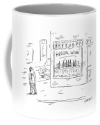 A Man Walks By A Liquor Store With The Sign Coffee Mug