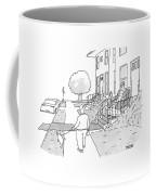 A Man Walks His Dog Past A King Sitting Coffee Mug