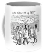 A Man Wearing A Beret Walks Down A Busy Street Coffee Mug