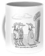 A Man Wearing A Snuggie Speaks To Two Men Wearing Coffee Mug