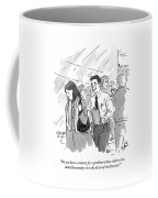 A Man With A Clipboard Approaches A Disgruntled Coffee Mug