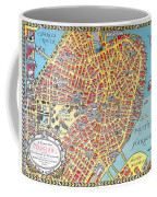 A Map Of Old Boston In The Commonwealth Of Massachusetts Coffee Mug