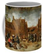 A Marketplace In Winter, 1653 Coffee Mug