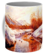 A Mountain Torrent In A Winter Landscape Coffee Mug
