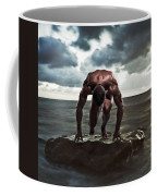 A Muscular Man In The Starting Position Coffee Mug