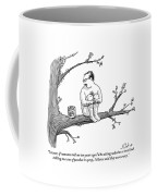 A Naked Man Sitting On A Tree Branch Is Talking Coffee Mug