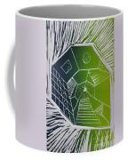 A New Dimension Blue And Green Linocut Coffee Mug