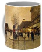 A Parisian Street Scene Coffee Mug by Eugene Galien-Laloue