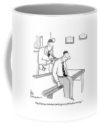 A Patient In Business Clothes On The Doctor's Coffee Mug