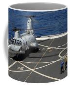 A Plane Captain Signals To A Ch-46e Sea Coffee Mug