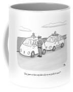 A Police Officer In A Futuristic Smart-car Pulls Coffee Mug