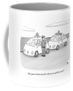A Police Officer In A Futuristic Smart-car Pulls Coffee Mug by Paul Noth