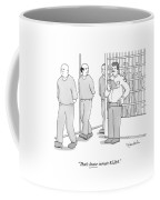 A Prison Inmate Addresses A Guard Holding Coffee Mug by Charlie Hankin