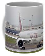 A Qatar Airways Cargo Boeing 777 Coffee Mug