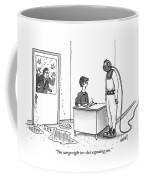 A Receptionist Addresses A Man In Diving Gear Coffee Mug