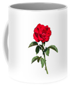 A Red Rose On White Coffee Mug