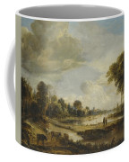 A River Landscape With Figures And Cattle Coffee Mug
